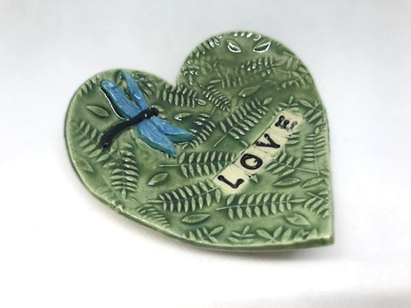 Heart Pottery Dish With Fern Pattern | http://www.mooseprintsgallery.com