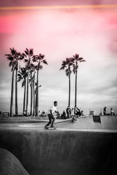 skate, skateboard, Venice, California, skatepark, pink, black and white, Skateboard Print, Venice Beach, Skateboard Wall Art, Skateboard print, black and white Los Angeles, California, Venice Skatepark