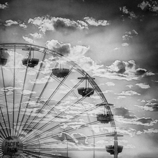 santa monica pier, moody, black and white, carnival, ferris wheel, Ferris Wheel Photo, Santa Monica Pier Photo, Carnival Print, black and white. photography, California, Los Angeles