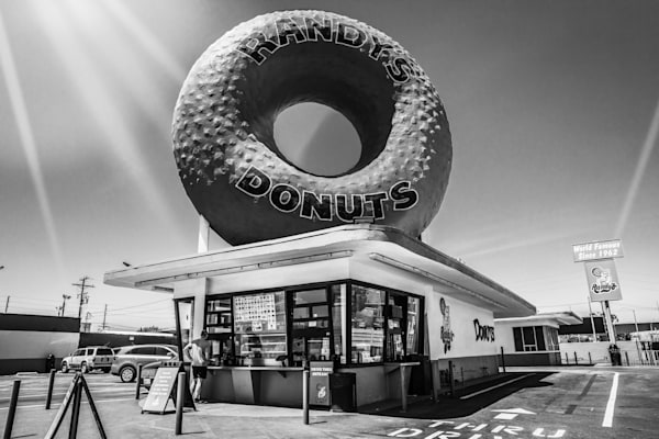 Randy's, Donut, black and white, large donut, kitchen decor, Randy's Donuts black and white Photograph - Los Angeles Iconic Photography, Wall Art Print, Fine Art Print, Urban Landscape