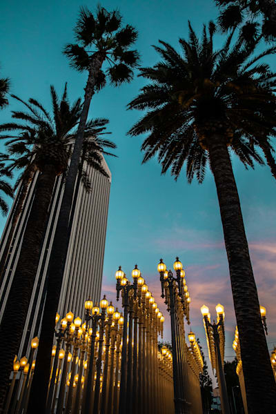 LACMA, Los Angeles Photo, night lights print, California, museum, Turquoise Wall Art, travel photography