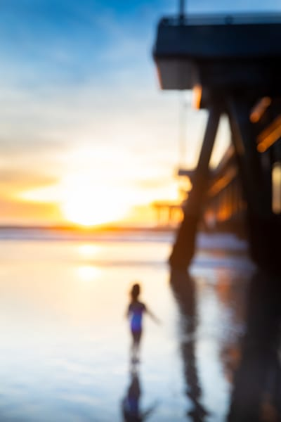modern color photography, abstract art, sunset pier photo, girl alone, Large modern wall art