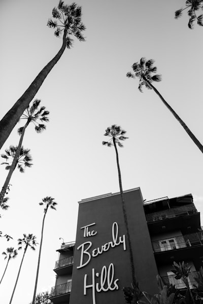 the Beverly Hills Hotel photo, vintage hollywood, Iconic photo Los Angeles, black and white photography, california wall decor, hollywood wall art