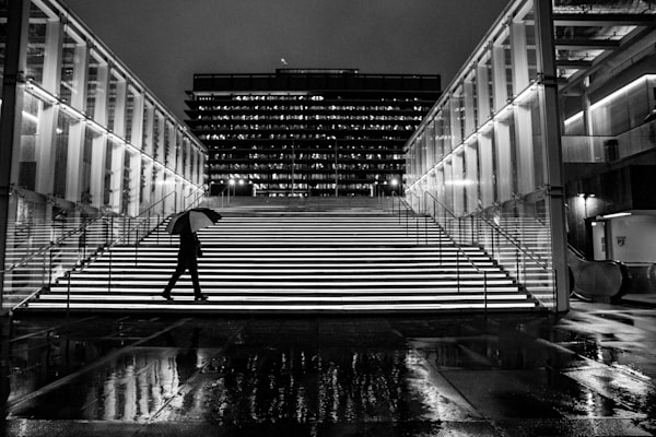 The Music Center, Los Angeles Rain, City Photo, Downtown LA, Geometric Architecture, Urban Landscape, Wall Art Print, Street Photography, stairs, rain, black and white, the music center, the Dorothy chandler