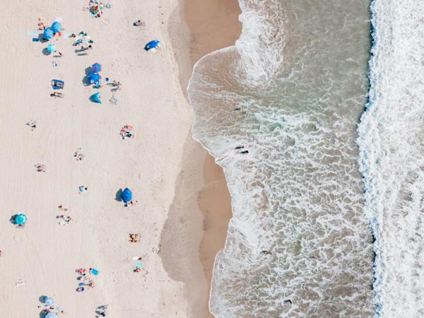 busy beach day photo, Aerial Beach Print, Beach Photography, Ocean print, coastal wall art, Los Angeles, Santa Monica, California, Large Beach photo