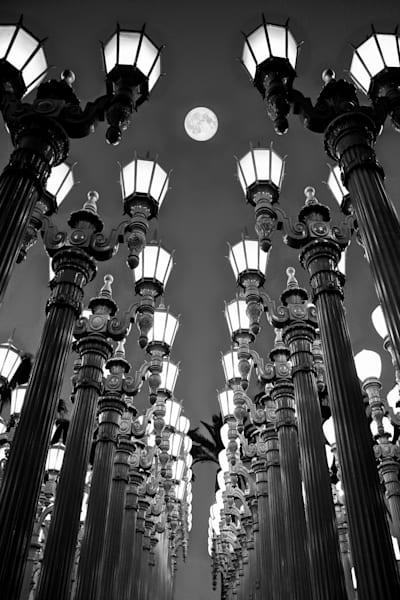 LACMA photo, full moon city print, Los Angeles photography, California Photo, Architecture Print, Urban Landscape, LACMA Fine Art, Iconic, Geometrical Wall Art, LACMA lights and moon print