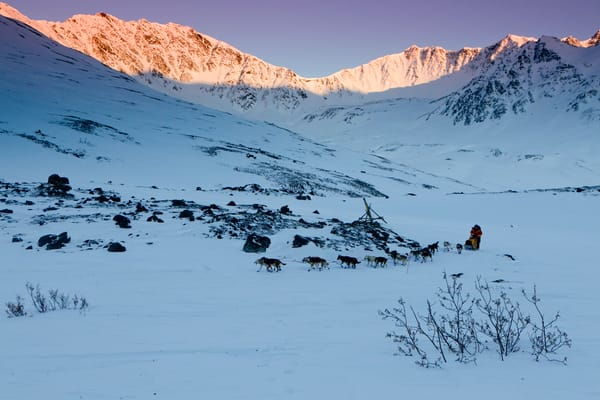 Mitch Seavey crests the summit of Rainy Pass in the Alaska Range during the  2011 Iditarod.  PHOTO (C) BY JEFF SCHULTZ / ALL RIGHTS RESERVED