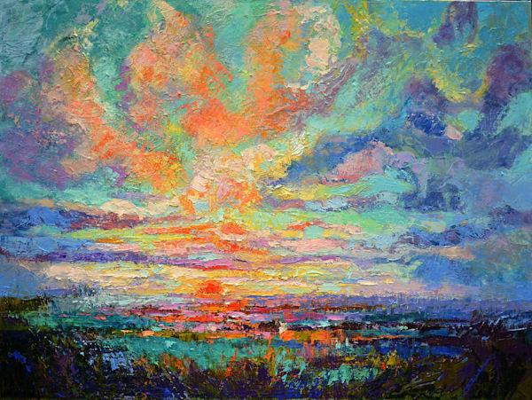 Beautiful Sunset Coastal Oil Painting by Dorothy Fagan