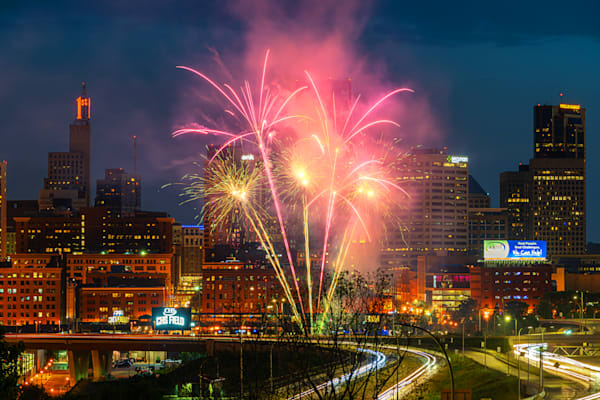 Pink Fireworks From Chs Field In Saint Paul Photography Art | William Drew Photography