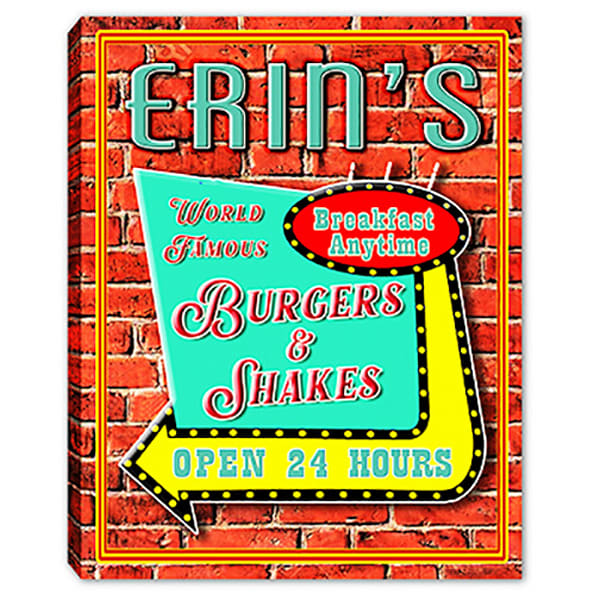 Personalizable Burgers & Shakes Canvas Print Sign | Photo 2 Canvas Direct