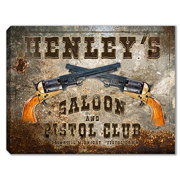Personalizable Saloon & Pistol Club Sign Canvas Print | Photo 2 Canvas Direct