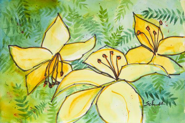 #6 Yellow Lillies Art | Elaine Schaefer Hudson Art
