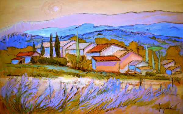 Large Lavender Fields Painting on Canvas by Dorothy Fagan