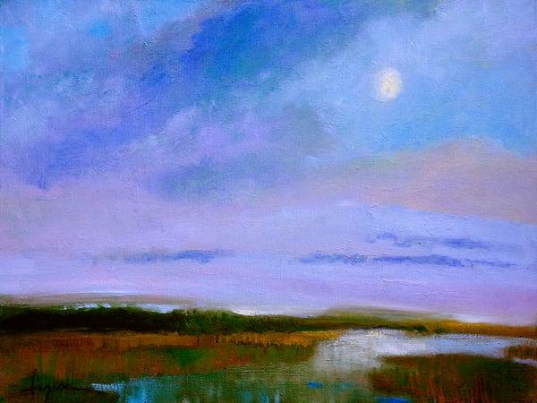 Moon Rise on Marsh, Fine Art Print on Canvas by Dorothy Fagan