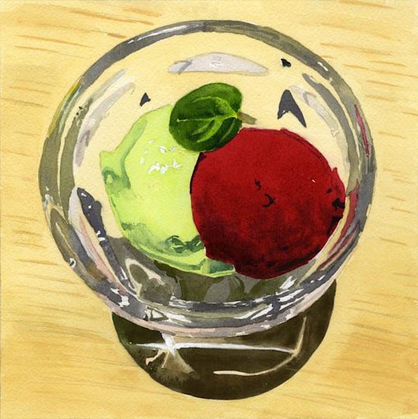 Avacado Ice Cream And Sorbet Art | Machalarts Watercolor Studio