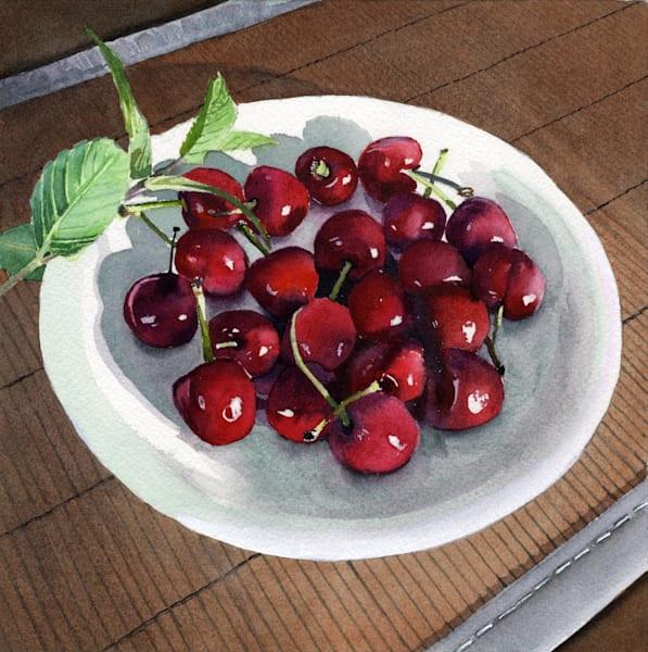 Cherries & Mint  Art | Machalarts Watercolor Studio