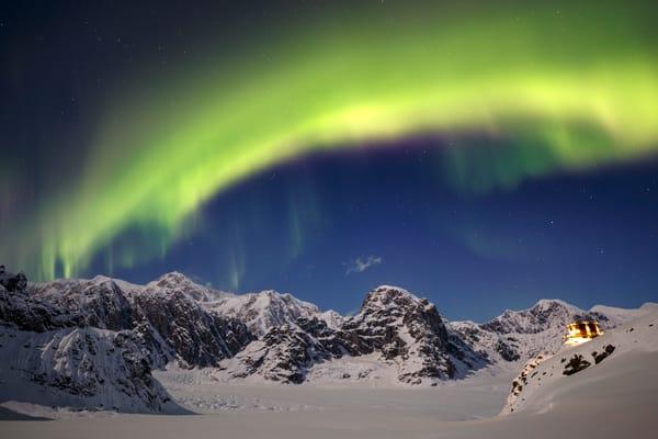 Aurora Borealis over Denali, the Ruth Glacier and Sheldon Chalet  Amphitheater in the Alaska Range.  Winter 2017
