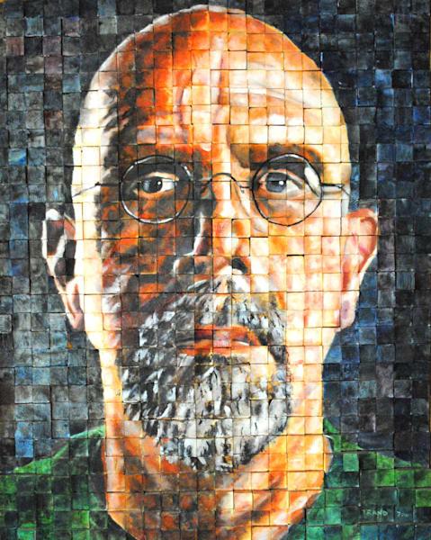 chuck close, portrait, block, grid, painting