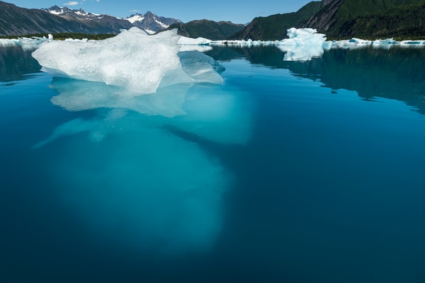 Summer landscape of iceberg above and below water line at Bear Glacier Lagoon in Kenai Fjords National Park.  Kenai Penninsula, Summer, Alaska     Photo by Jeff Schultz/  (C) 2019  ALL RIGHTS RESERVED