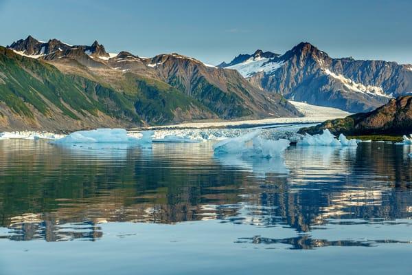 Summer landscape of icebergs at Bear Glacier Lagoon in Kenai Fjords National Park.  Kenai Penninsula, Summer, Alaska     Photo by Jeff Schultz/  (C) 2019  ALL RIGHTS RESERVED