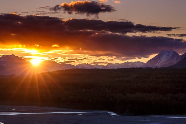 Spring landscape of sunrise over Talkeetna Mountains in Matanuska valley. Spring Southcentral, Alaska   Photo by Jeff Schultz (C) 2016  ALL RIGHTS RESERVED