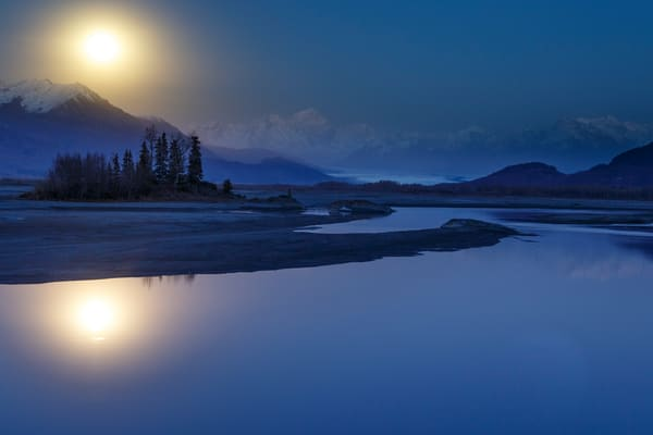 Fall landscape of moonrise over Chugach Mountains and Mt. Goode and Knik River with Knik Glacier. Matanuska Valley, Southcentral, Alaska  Photo by Jeff Schultz/SchultzPhoto.com  (C) 2016  ALL RIGHTS RESVERVED