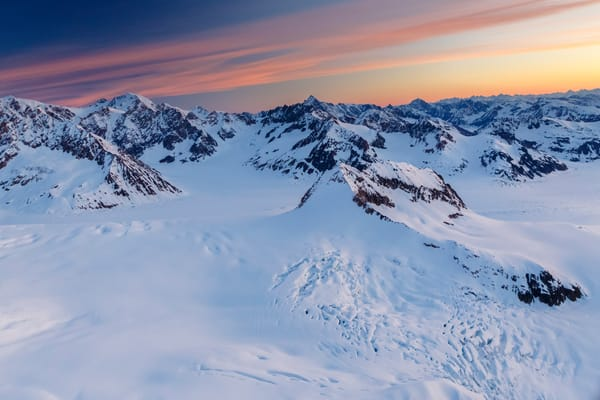 Springtime aerial landscape photos of first light on Tordillo Mountains of the Alaska Range  June 2017  Photo by Jeff Schultz/SchultzPhoto.com  (C) 2017  ALL RIGHTS RESERVED