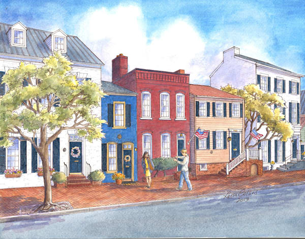 Old Town Alexandria Va Queen Street | Art Gifts Art | Leisa Collins Art
