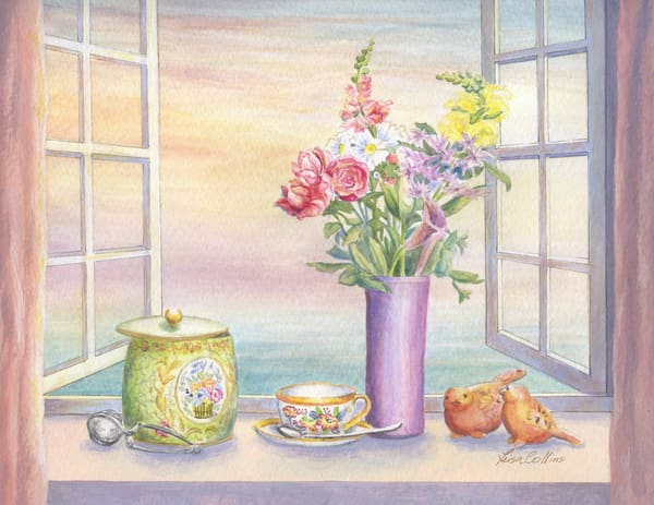 Tea With A View Still Life | Art Gifts Art | Leisa Collins Art