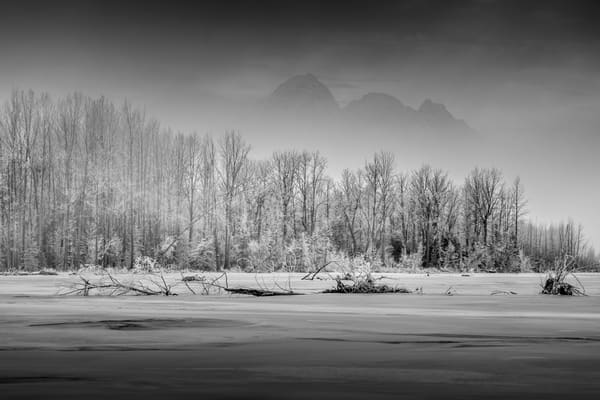 Winter landscape of frozen Matanuska River with fog partly obscuring Pioneer Peak and Twin Peaks.  Matanuska Valley Chugach Mountains  Photo by Jeff Schultz/SchultzPhoto.com  (C) 2017  ALL RIGHTS RESERVED