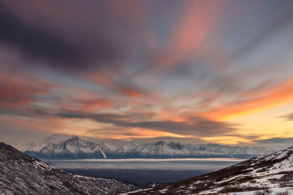 Winter landscape of clouds over Chugach Mountains including Pioneer Peak and Twin Peaks during sunset  Photo by Jeff Schultz/SchultzPhoto.com  (C) 2018  ALL RIGHTS RESERVED