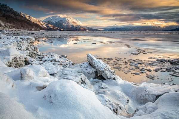 Winter Landscape of ice flows and ice pans on Turnagain Arm. Chugach and Kenai Mountains.  Southcentral, Alaska   Photo by Jeff Schultz/  (C) 2020  ALL RIGHTS RESERVED