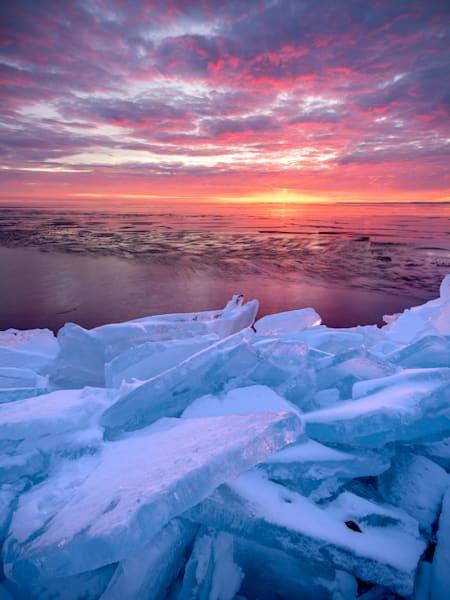 Sunrise over plate ice along Lake Superior