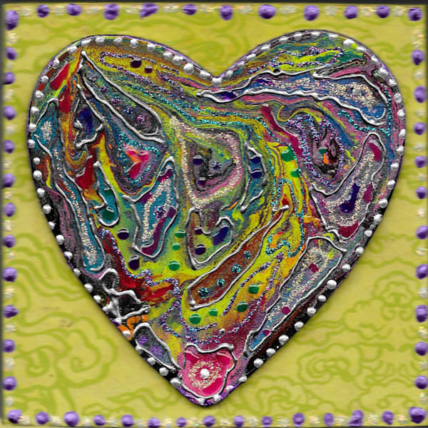 Mardi Gras Heart Art   Channe Felton Fine Art