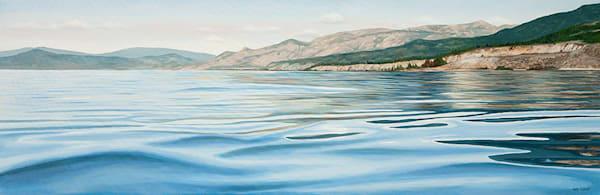 Susurrant, painting inspired from a kayaking trip on Okanagan Lake, 24x72