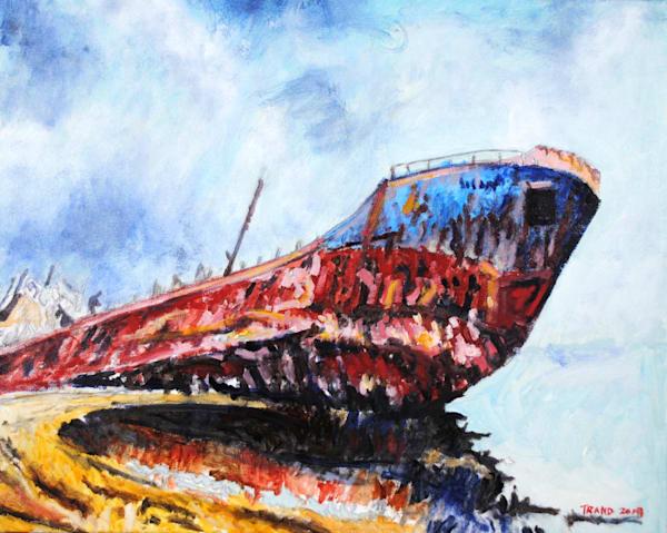 shipwreck, cove, beach, ocean
