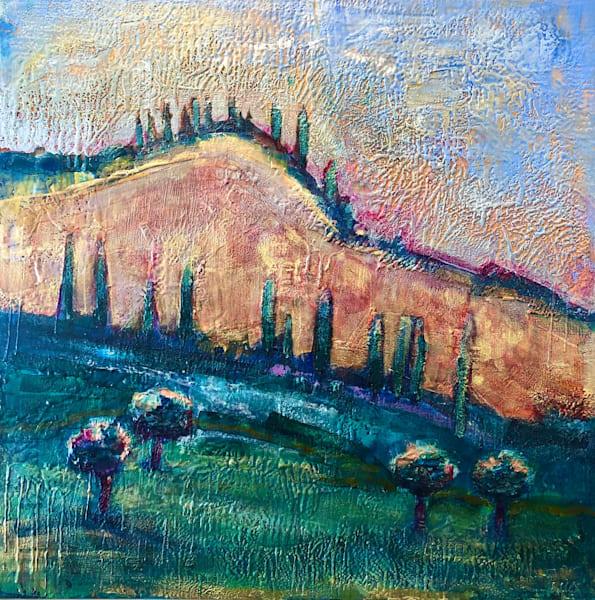Tuscan Hills I Large Encaustic Wax Landscape Painting