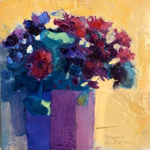 Expressionist still life floral oil painting of purple asters by Monique Sarkessian.