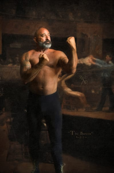 The boxer, Limited Edition Encaustic Painting, Artist Ben Fink, Unique framing available,