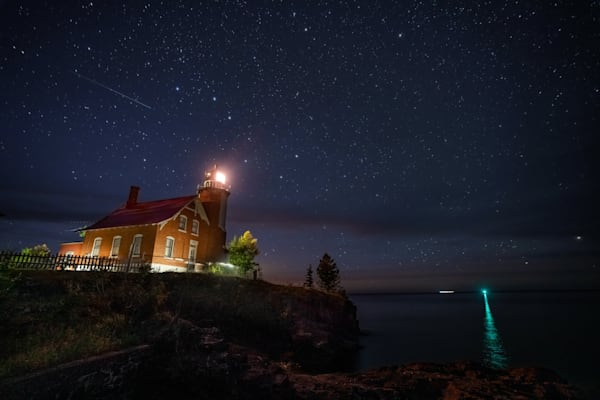Eagle Harbor Lighthouse And The Big Dipper Photography Art | William Drew Photography