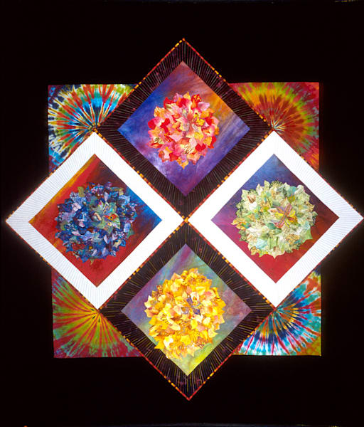 Prismatic Flowers Art   Barbara Olson Fiberarts