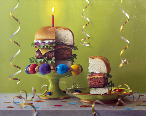 Birthday Burger Art | Romanova Art