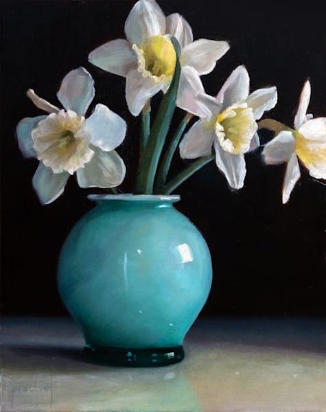 Daffodils In Turquoise Vase Art | Romanova Art
