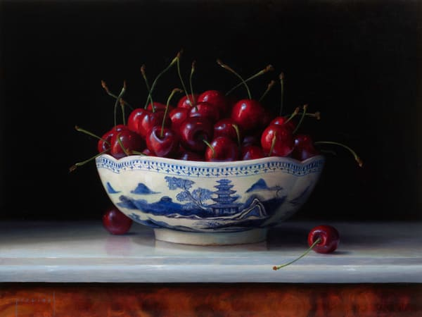 Cherries In Canton Bowl Art | Romanova Art