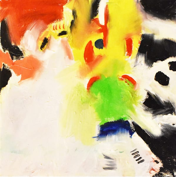 abstract yellow and black painting