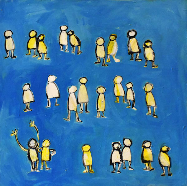 Little People with Blue art