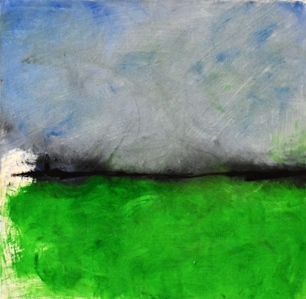 Landscape Painting Abstract in Blue and Green