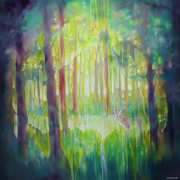 print on canvas or paper of Hart of the Green Wood