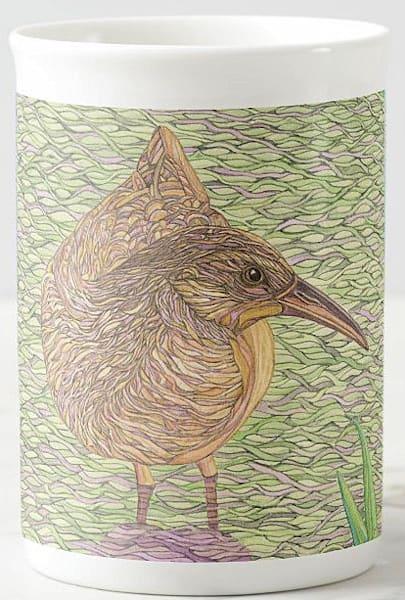 "Bone china cup featuring ""Virginia Rail"" bird art by Judy Boyd Watercolors"