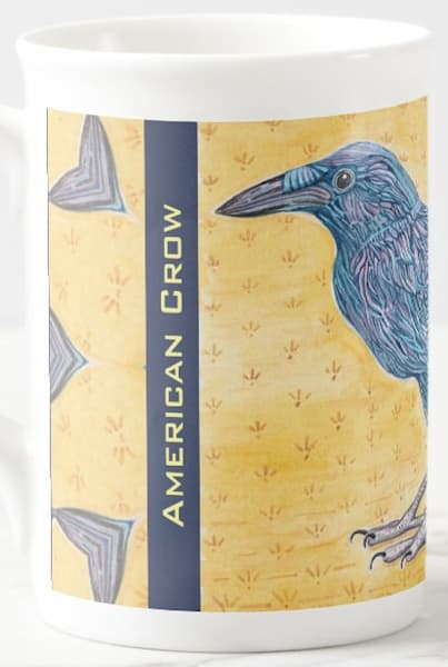 American Crow cup with bird art from Judy Boyd Watercolors